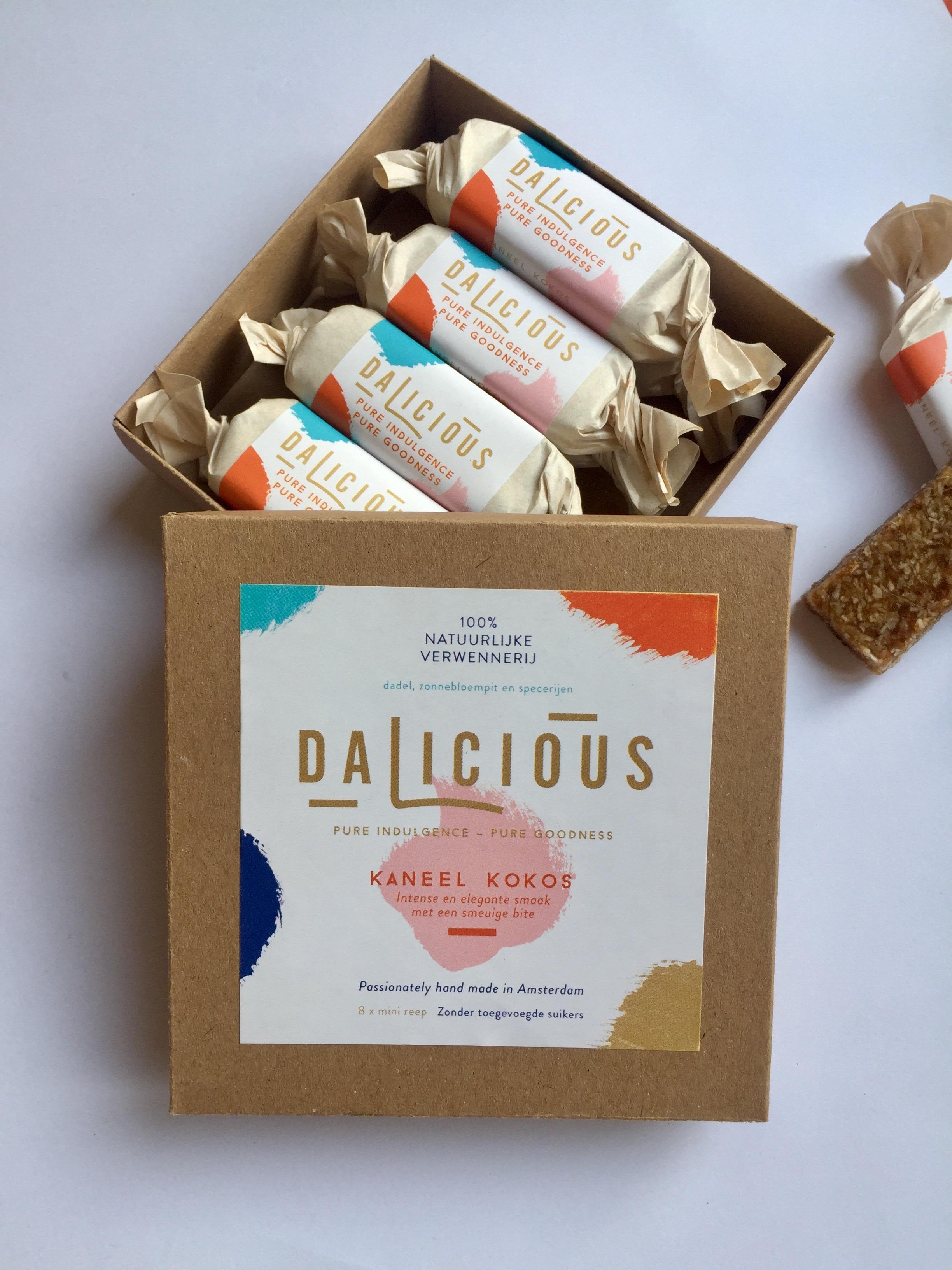 Luxe Dalicious verpakking 8 mini repen - Kokos Kaneel X